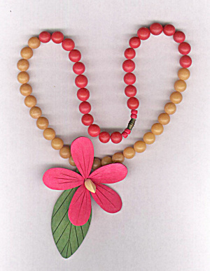 Wooden Pink Flower Necklace