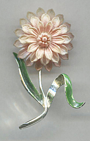 Gerry's Pink Flower Silver Tone Metal Pin