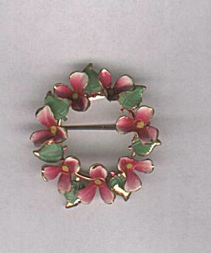 AUSTRIA PINK FLOWER CIRCLE PIN (Image1)