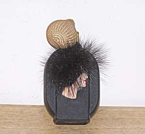Perfume Bottle, Woman's Head With Fuzzy Hat