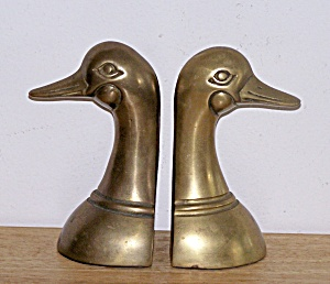 Brass Duck Head Bookends