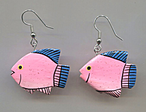 Pair Of Wooden Fish Shaped Pierced Earrings