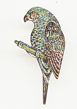 Brightly Colored Plastic On Silver Tone Parrot Pin