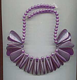 Purple Plastic Drop Ovals & Beads Necklace