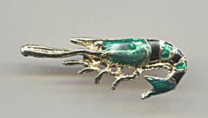 CRAWFISH PIN, GREEN & BLACK ON GOLD TONE (Image1)