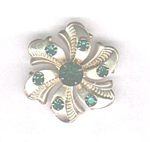 Gold Tone Flower With Green Stones