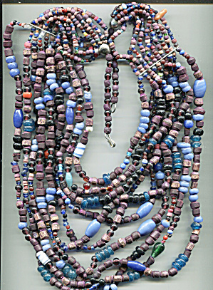 10 Capped Strands, Composition Colored Beads Necklace