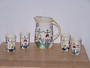 Juice Pitcher, 4 Glasses, Holland Design