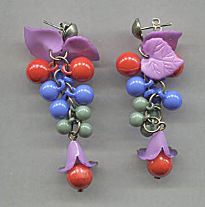 Blue Balls, Purple Flowers W/red Plastic Earrings