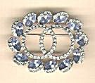 Blue And Clear Stones Double Circle Pin