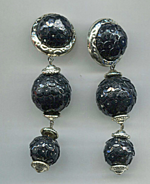 Three Balls Jet Black Plastic Earrings, Gold Trim