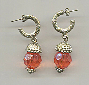 Orange Plastic Drop W/gold Tone Pierced Earrings