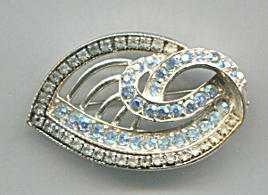 Pale Blue Rhinestones In Silver Tone Metal Pin