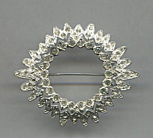 Open Circle Pin Trimmed With Clear Rhinestones