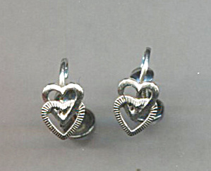 Sterling Petite Cut-out Double Hearts Earrings