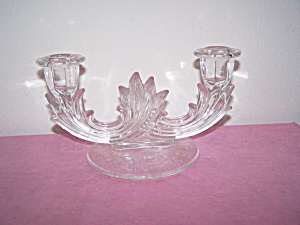 Etched Base Double Glass Candle Holder