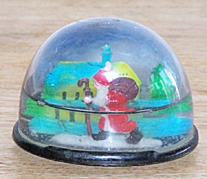 Santa With Cane Snow Dome