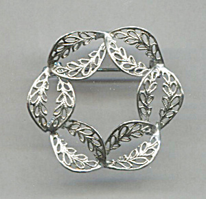 Open Silver Work In Circle Pin