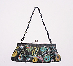 Chateau Beads & Crochet Black Silk Evening Bag