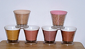 THERMAL WARE STRAW WEAVE 6 FOOTED SHERBETS (Image1)