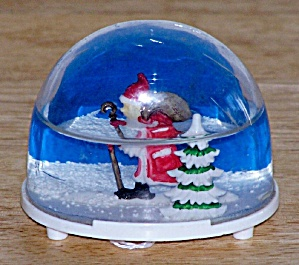 Small Snow Dome, Santa Walking W/ Cane