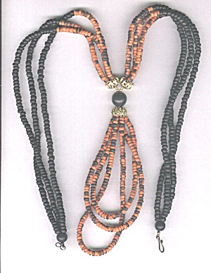 ORANGE & BLACK BEADS NECKLACE (Image1)