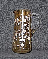 HAND PAINTED TALL AMBER GLASS PITCHER (Image1)