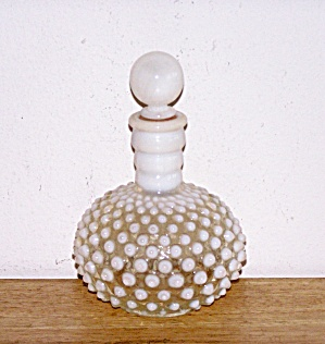 White Milk Glass Hob Nail Cologne Bottle