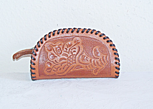 Small Tooled Leather Change Purse, Texas