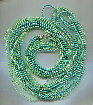 8 Capped Strands Green Plastic Rope Necklace