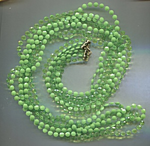 4 Strands Green Small Plastic Discs Rope Necklace