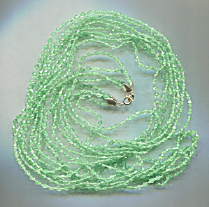 4 Strand Capped Green Plastic Beads Rope Necklace