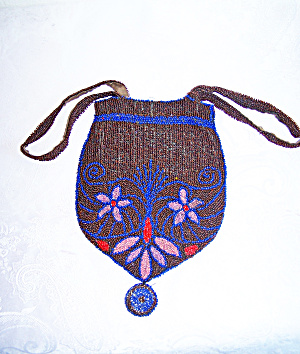 Red, Blue & Gold Beaded Purse (Image1)