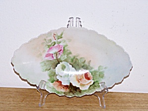 HAND PAINTED OVAL FLOWERS PLATE, 1903 (Image1)