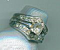Sterling Double Band Clear Stones Ring