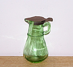 Old Green Glass Syrup Pitcher, Hazel Atlas