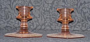 PINK GLASS SHORT CANDLESTICKS W/GOLD FILIGREE DESIGN (Image1)