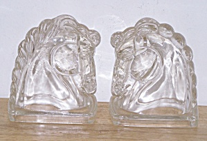 GLASS HORSE HEAD BOOKENDS (Image1)