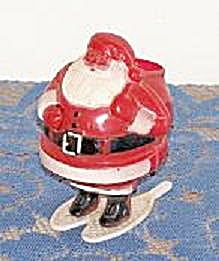 Santa On Snow Shoes Plastic Candy Container