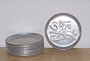 12 ALUMINUM COASTERS, WARRIOR & HORSE THEME (Image1)