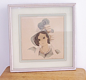 VICTORIAN LADY IN BLUE HAT w/ FEATHER  FRAMED PRINT (Image1)
