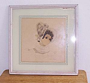 VICTORIAN LADY IN WHITE HAT w/ FEATHER  FRAMED PRINT (Image1)