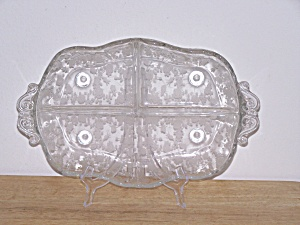 CAMBRIDGE GLASS ROSE POINT DIVIDED RELISH DISH (Image1)