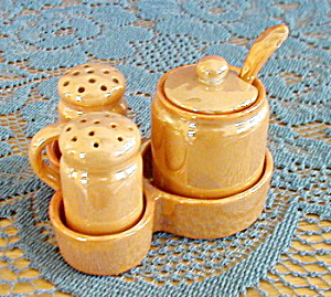 Gold Lustreware Salt, Pepper, Mustard In Tray