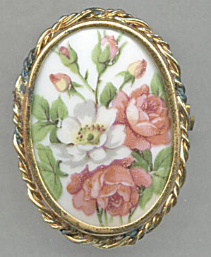 Limoges Porcelain Flower Pin