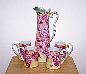 LIMOGES CHINA TANKARD AND 4 MUGS (Image1)