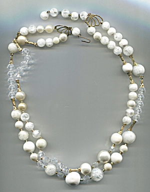 White & Crystal Bead Necklace, Germany