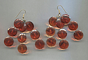 Amber Plastic Disc Drop Earrings