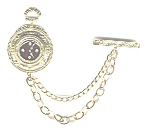 Facsimile Pocket Watch & Chain Pin