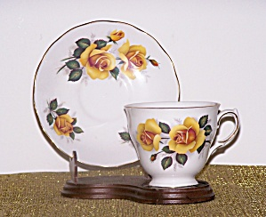 Queen Anne Cup & Saucer, Yellow Roses
